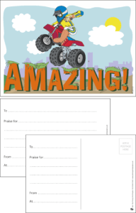 Amazing Trike Praise Postcard - Praise & Reward Postcards for Schools