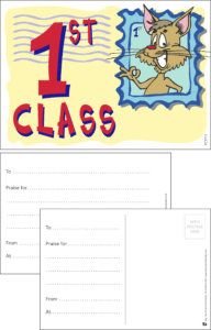 First Class Stamp Praise Postcard - Praise & Reward Postcards for Schools