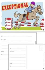 Exceptional Horse Jumping Praise Postcard - Praise & Reward Postcards for Schools