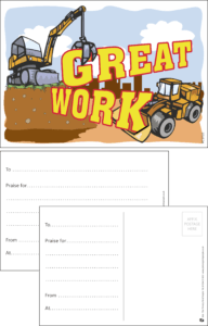 Great Work Construction Praise Postcard - Praise & Reward Postcards for Schools