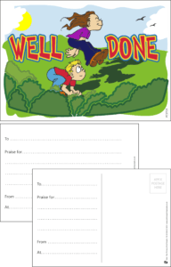 Well Done Leap Frog Praise Postcard - Praise & Reward Postcards for Schools