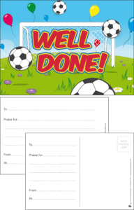 Well Done Football Praise Postcard - Praise & Reward Postcards for Schools