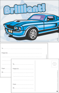 Brilliant Sports Car Praise Postcard - Praise & Reward Postcards for Schools