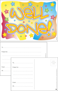 Well Done Stars Praise Postcard - Praise & Reward Postcards for Schools