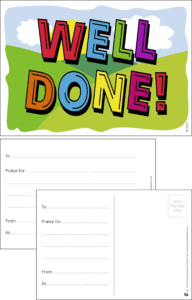 Well Done Field Praise Postcard - Praise & Reward Postcards for Schools