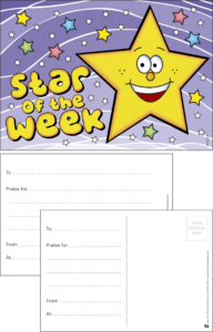 Star Of The Week Praise Postcard - Praise & Reward Postcards for Schools