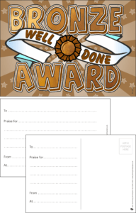 Bronze Award Praise Postcard - Praise & Reward Postcards for Schools