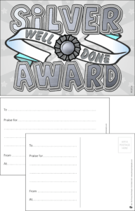 Silver Award Praise Postcard - Praise & Reward Postcards for Schools