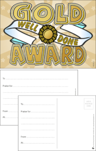 Gold Award Praise Postcard - Praise & Reward Postcards for Schools