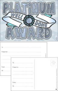 Platinum Award Praise Postcard - Praise & Reward Postcards for Schools