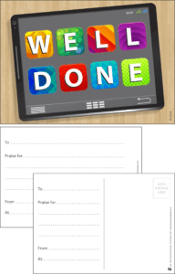 Well Done Tablet Praise Postcard - Praise & Reward Postcards for Schools