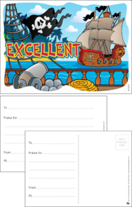 Excellent Pirates Praise Postcard - Praise & Reward Postcards for Schools