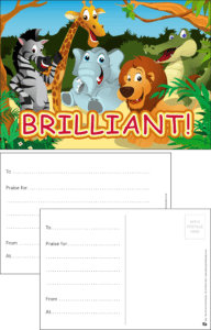 Brilliant Animals Praise Postcard - Praise & Reward Postcards for Schools