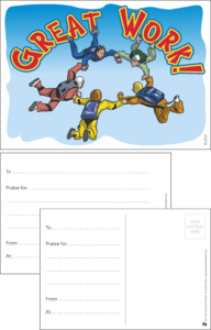 Great Work Sky Divers Praise Postcard - Praise & Reward Postcards for Schools