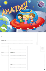 Amazing Space Ship Praise Postcard - Praise & Reward Postcards for Schools