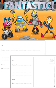 Fantastic Robots Praise Postcard - Praise & Reward Postcards for Schools