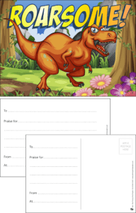 Roarsome Dinosaur Praise Postcard - Praise & Reward Postcards for Schools