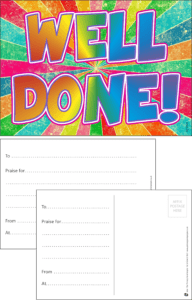 Well Done Rainbow Praise Postcard - Praise & Reward Postcards for Schools