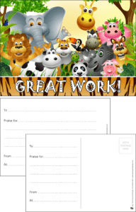 Great Work Animals Praise Postcard - Praise & Reward Postcards for Schools