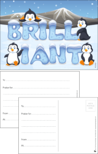 Brilliant Penguins Praise Postcard - Praise & Reward Postcards for Schools