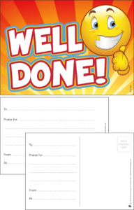 Well Done Smiley Face Praise Postcard - Praise & Reward Postcards for Schools