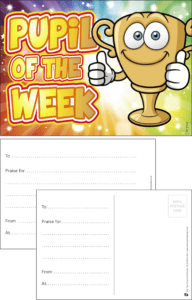 Pupil Of The Week Trophy Praise Postcard - Praise & Reward Postcards for Schools