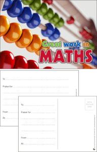 Great Work In Maths Praise Postcard - Praise & Reward Postcards for Schools