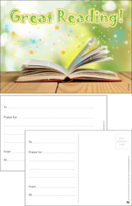 Great Reading Book Praise Postcard - Praise & Reward Postcards for Schools
