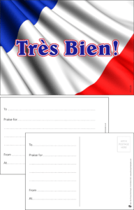 Tres Bien French Language Praise Postcard - Praise & Reward Postcards for Schools