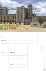 Great Work In History Praise Postcard - Praise & Reward Postcards for Schools