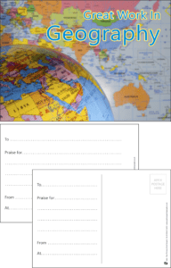 Great Work In Geography Praise Postcard - Praise & Reward Postcards for Schools