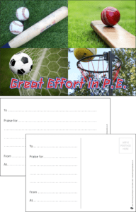 Great Effort In PE Praise Postcard - Praise & Reward Postcards for Schools