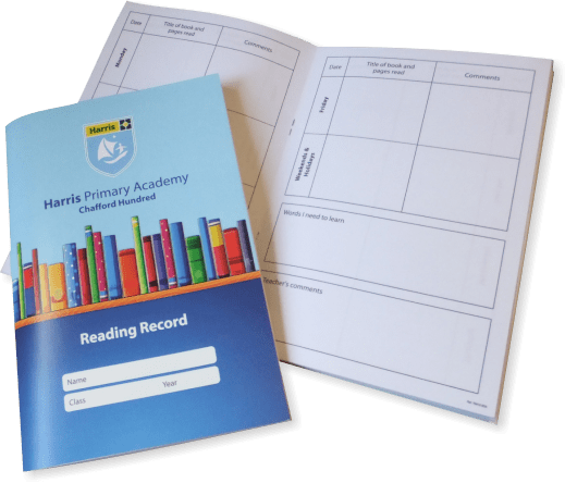 Fully customised school reading record booklets
