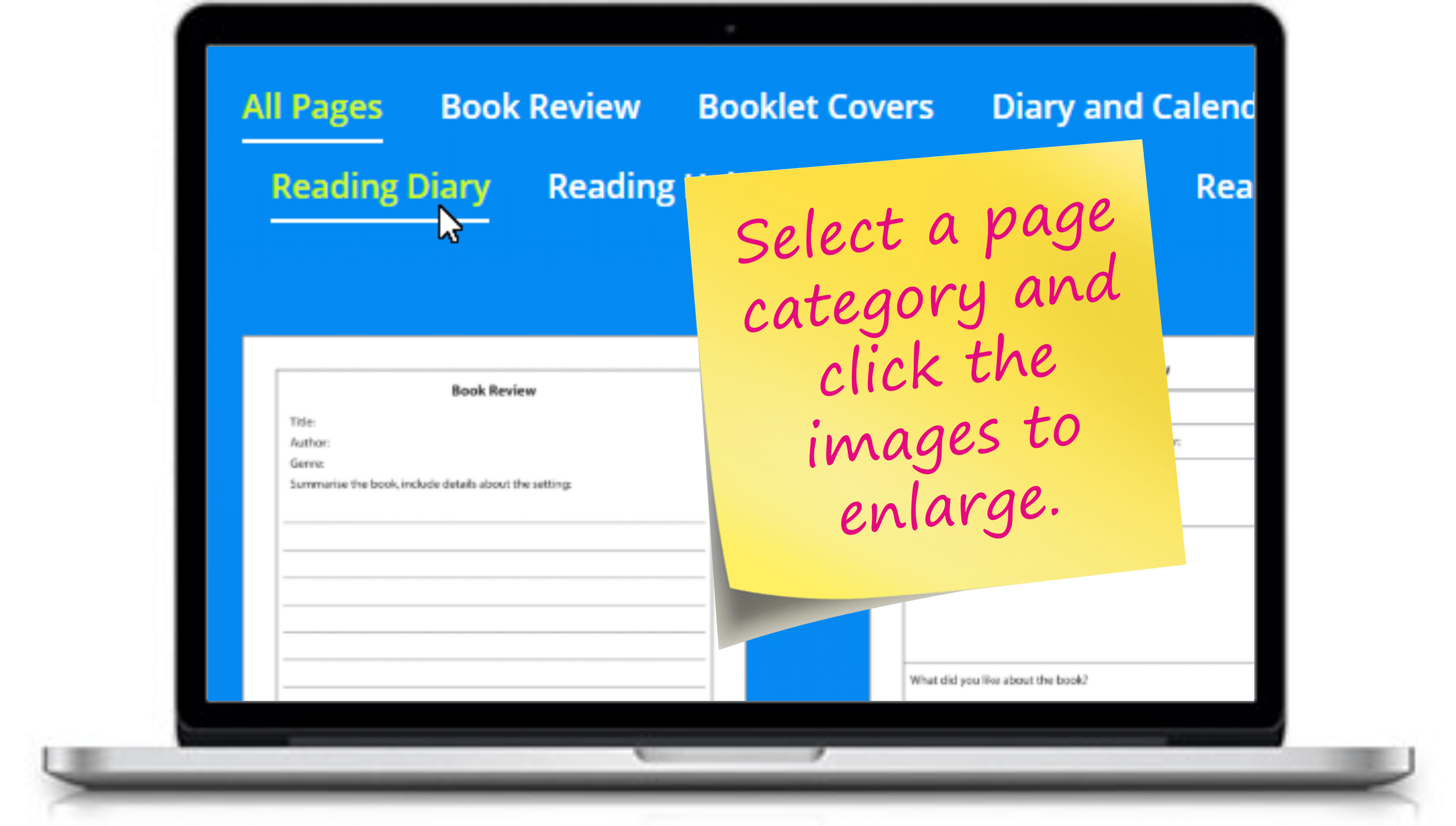 Custom Reading Record Booklets - Select a page category