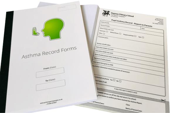 Asthma Record Form Books - Tables Log Booklets - Educational printing for primary schools