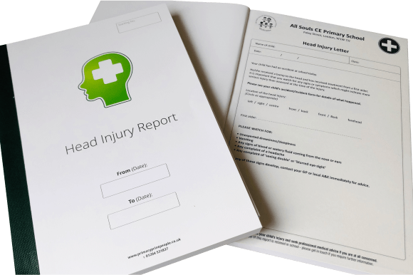 Head Injury Report Form Books - Tables Log Booklets - Educational printing for primary schools