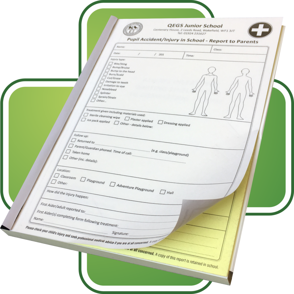 Customised School Accident and Injury Form Books