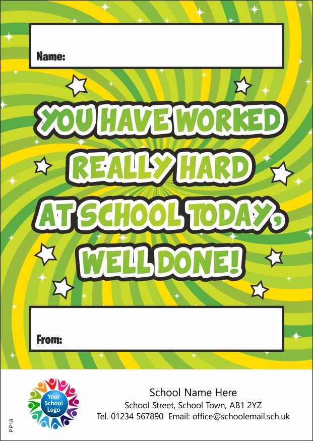 Worked hard at school - Praise Pad